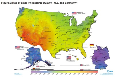 Solar resource USA-Germany